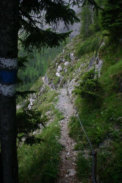 This is a very steep alpine route but a rope hand-hold is provided for the hardest part