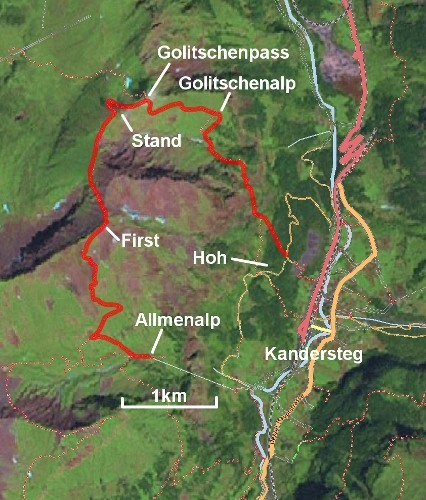 The route from Allmenalp over First and Stand to Golitschenpass