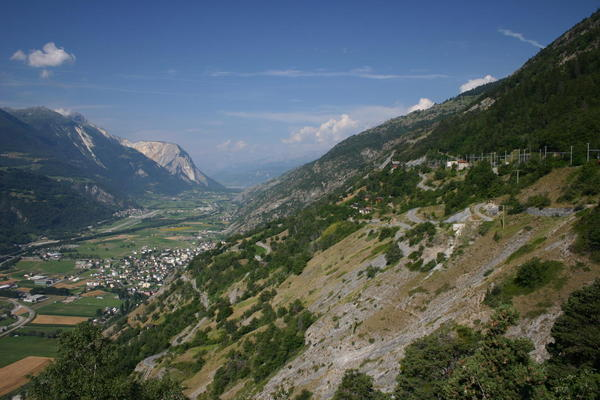 Looking down on the Rhone valley from the Höhenweg Südrampe
